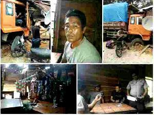 Lagi-lagi Akibat Rem Blong, Sebuah Warung di desa Kasang Hancur Dihantam Truk Batubara